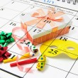 Calendar and Party Favors — Stock Photo