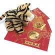 Soft Toy Tiger with Red Packets — Stock Photo