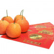 Red Envelopes and Tangerines — Stock Photo