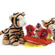 Soft Toy Tigers and Lion Dancing Head — Stock Photo