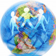 Paper Dolls and Globe — Stock Photo