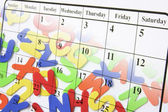 Calendar Page and Alphabets — Stock Photo