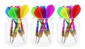 Darts in Glass Jars — Stock Photo