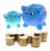 Sparbössor och mynt — Stockfoto