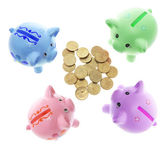Piggy Bank swith Coins — Stok fotoğraf