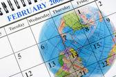 Globe and Calendar — Stock Photo