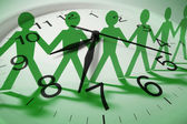 Clock and Paper Dolls — Stock Photo