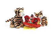 Soft Toy Tigers and Lion Dancing Head — 图库照片