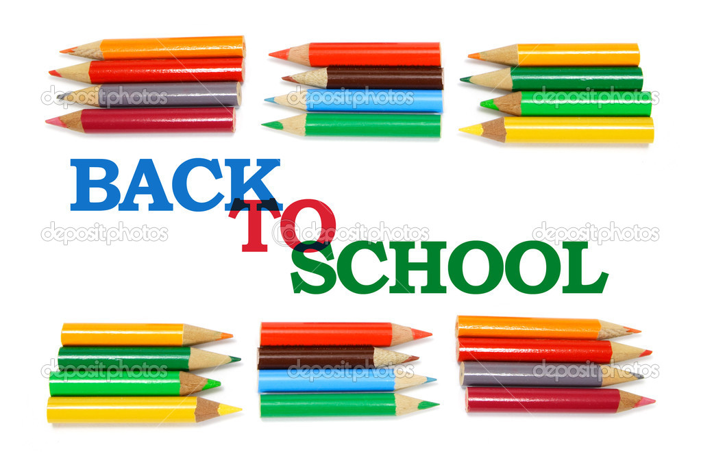 Back to School and Color Pencils on White Background  Stock Photo #2496588
