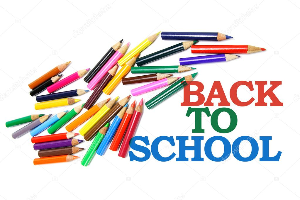 Back to School and Color Pencils on White Background — Stock Photo #2496598