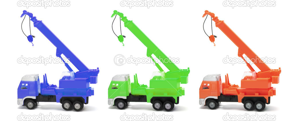 Toy Crane Trucks on Isolated White Background — Stock Photo #2496623