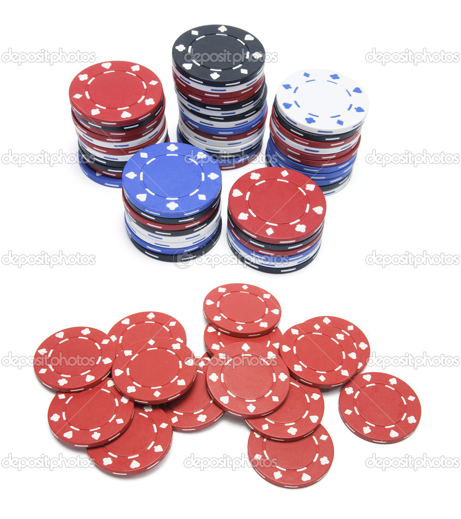 Poker Chips on Isolated White Background — Stock Photo #2496631
