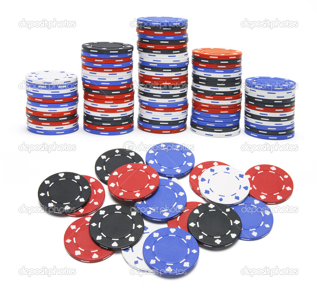 Poker Chips on Isolated White Background — Stock Photo #2496641