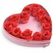 Red Roses in Heart-Shaped Box — Stock Photo