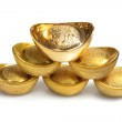 Stack of Chinese Gold Ingots — Stock Photo