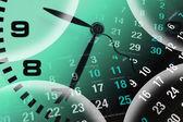 Klocka och kalender sidor — Stockfoto