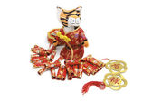 Soft Toy Tiger and Firecrackers — Stock Photo