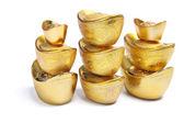 Pilas de lingotes de oro chinos — Foto de Stock