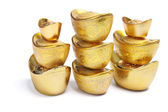 Pile di lingotti d'oro cinese — Foto Stock