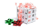 Gift Box Wrapped with Calendar Page — Stock Photo