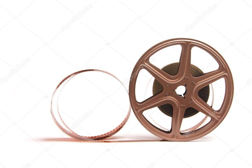 电影胶片卷轴在白色背景上– 图库图片