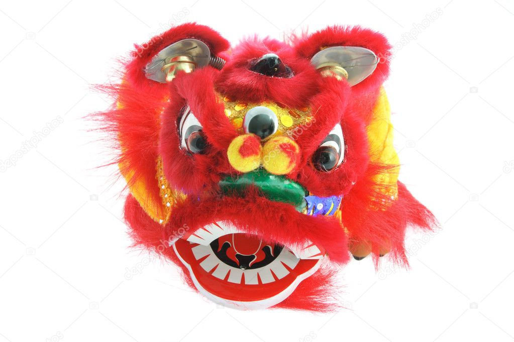 Chinese Lion Dance Vector Chinese Lion Dance on White