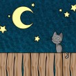 Stock Vector: Night cat