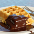 Belgian waffle - Stock Photo