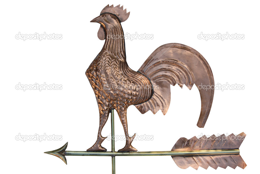 A rooster weather vane isolated on white — Stock Photo #2469825