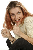 Woman giving thumbs up — Stock Photo
