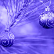 Stock Photo: Blue Duotone Christmas Bulbs