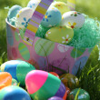 Stock Photo: Easter Eggs and Basket