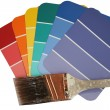 Stock Photo: Paint Swatches with Used Paint Brush