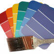 Paint Swatches with Used Paint Brush - Stock Photo