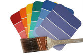 Paint Swatches with Used Paint Brush — Stock Photo