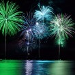 Colorful Fireworks over Lake - Stock Photo