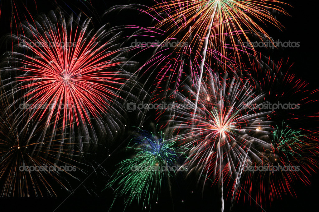 Colorful Firework Show Finale with Multiple Bursts — Stock Photo #2638885