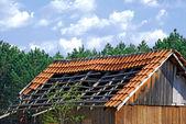 Old demolished tiled roof — Stock Photo