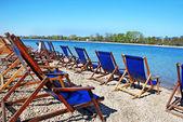 Azul sillas plegables — Foto de Stock