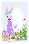 Easter bunny with basket — Stock Vector