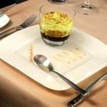 Artistic Dessert with ice-cream and rais — Stock Photo