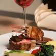 Lamb meal and red wine — Stock Photo