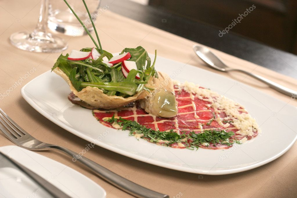 Ham parmesan rucola and ice-cream — Stock Photo #2517789