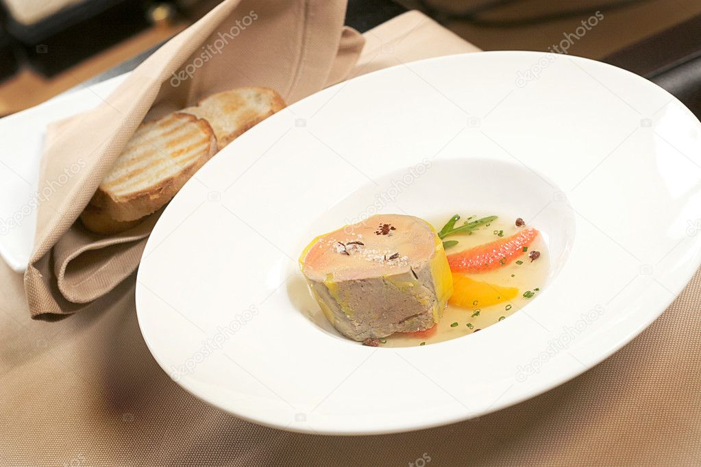 Foie gras, French healthy food served with bred  Stock Photo #2517953