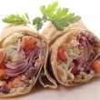 Two Tortilla Wrap Cut in Half — Stock Photo