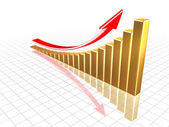 Growing gold chart with reflections — Stock Photo