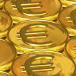 Golden euro coins — Stock Photo