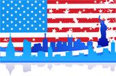 Usa vlag en stad — Stockfoto