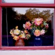 Flowers in a Window Frame — Stock Photo