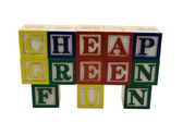 Cheap Green Fun Toy Blocks — Stock Photo